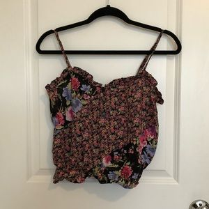 Cropped top floral shirt